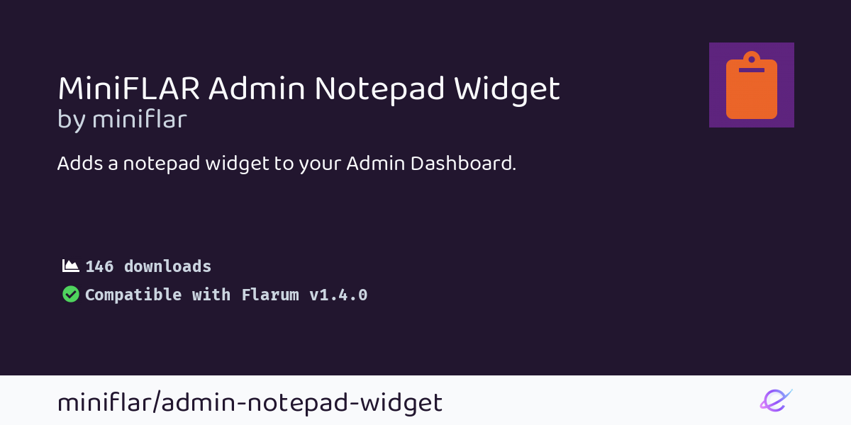 miniFLAR Admin Notepad Widget